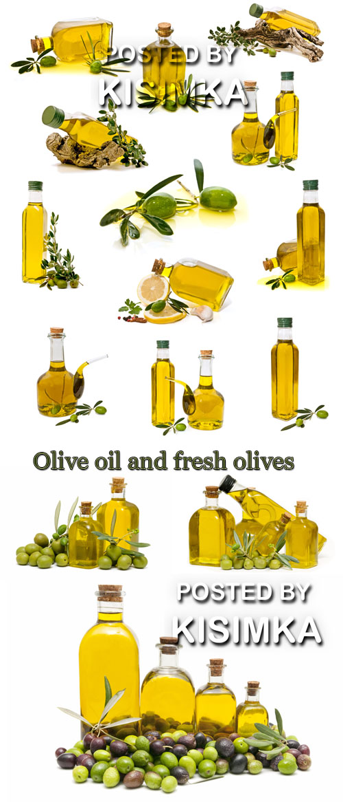Stock Photo: Olive oil and fresh olives