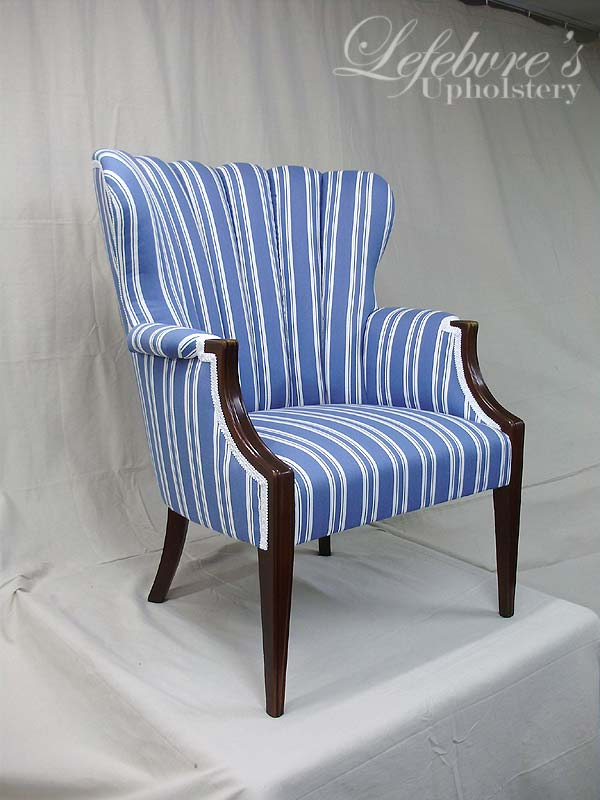 Brand-new Lefebvre's Upholstery: Fan-Back Chair - Blue & White Stripe UD97
