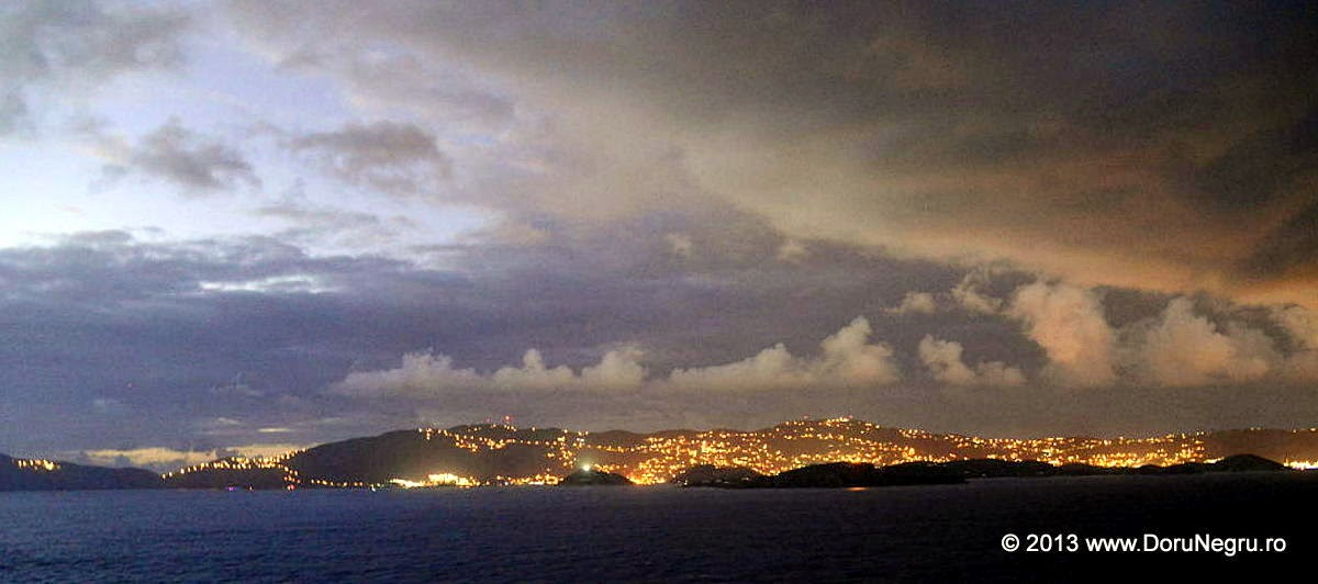 Sailing by the US Virgin Islands at dusk