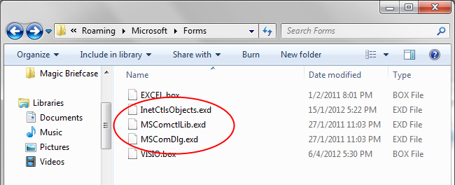 EXD Files in Forms folder.