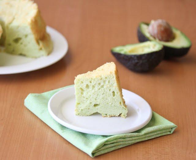 photo of a slice of Avocado Chiffon Cake