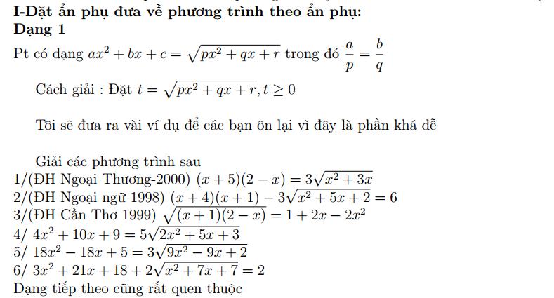 phuong trinh chua can