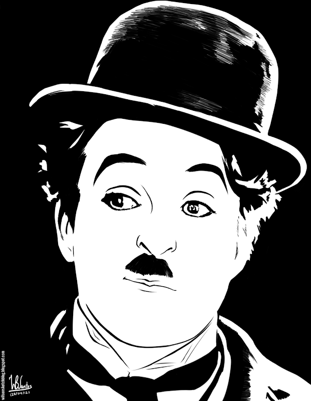 Ink drawing of Charlie Chaplin, using Krita 2.4.