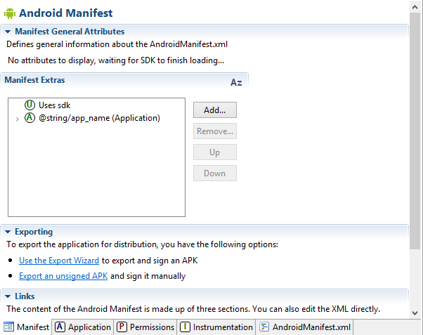 Editing dell'AndroidManifest.xml