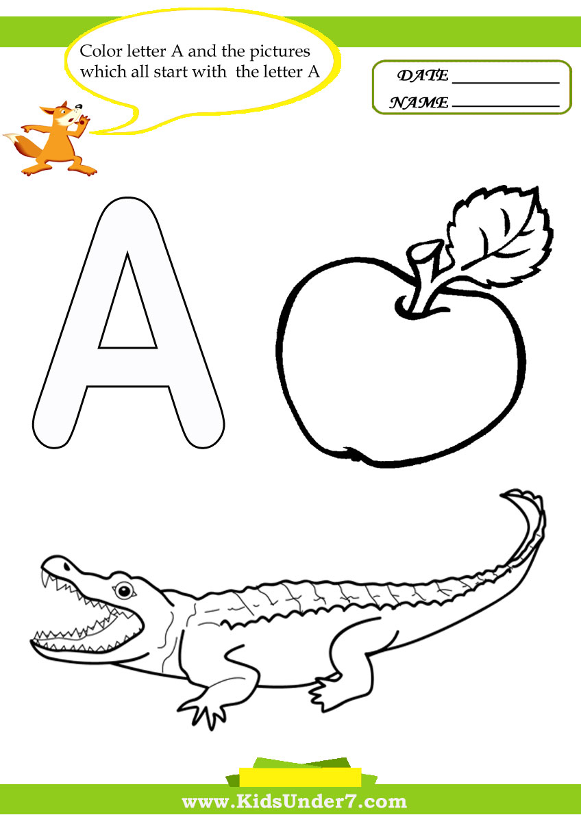 Kids Under 7 Letter A Worksheets and Coloring Pages – Letter a Worksheets for Preschool