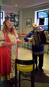 Portland Penny Diner pop-up blini bar with live Russian folk music, courtesy accordion player Leonid Nosov and singer Anna Kazakova