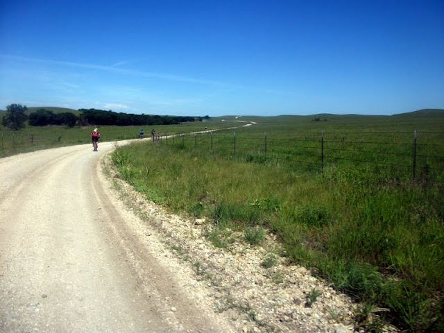 Winding gravel road at Dirty Kanza