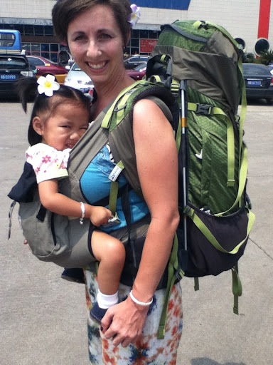 This is how I travel - 50 # with baby and pack