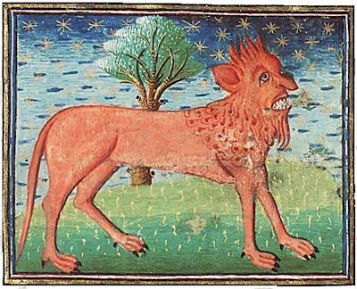 The manticore is a legendary creature with the body of a lion and a human head. Artist unknown