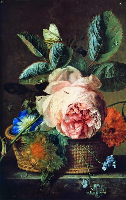 Jan van Huysum - A Basket of Flowers