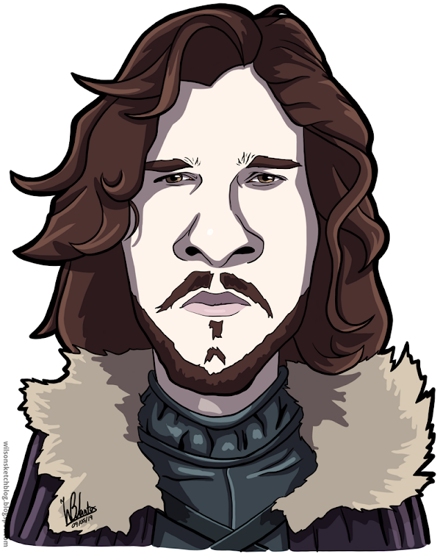 Cartoon caricature of Jon Snow from Game of Thrones.