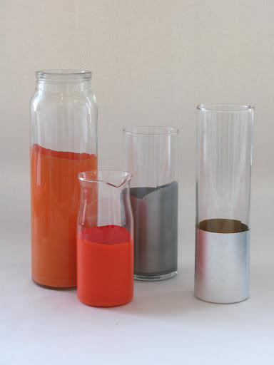 Some finished examples—the vase on the far right is embellished with spray-mounted foil. Another simple project, see link at the end of this post!