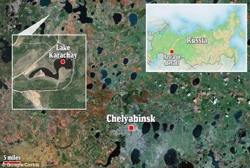 這幅地圖標註出車里雅賓斯克和卡拉恰伊湖的位置。 現在的車里雅賓斯克仍有很多地區因嚴重核廢料汙染不適於居住