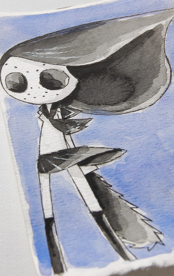 akumu ink art, nightmare artwork, horror watercolor, emo art, gothic art, goth art, horror drawing, japanese school girl chainsaw, horror sketch, japanese goth art style, similar edward gorey, similar tim burton art, kawaii goth art, nightmare sketch, cute scary art