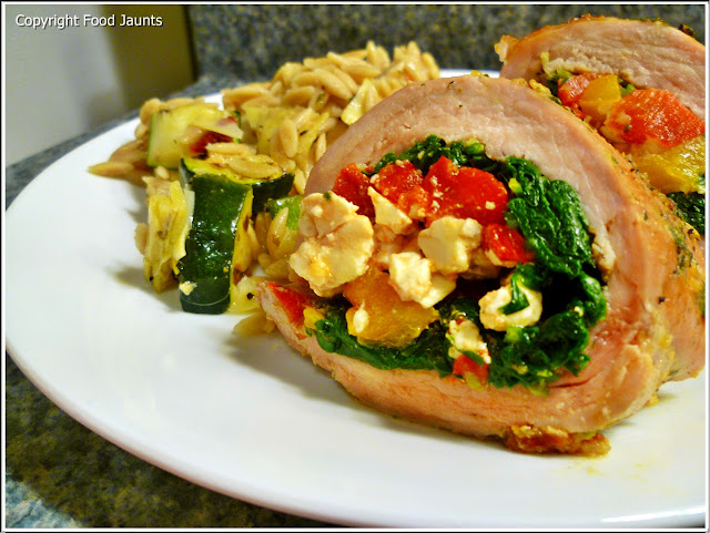 Greek Stuffed Pork Tenderloin with Grilled Zucchini Pasta Salad