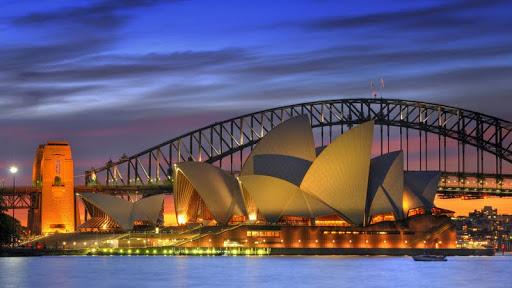 Sydney Opera House and Harbor Bridge at Night, Sydney, Australia.jpg