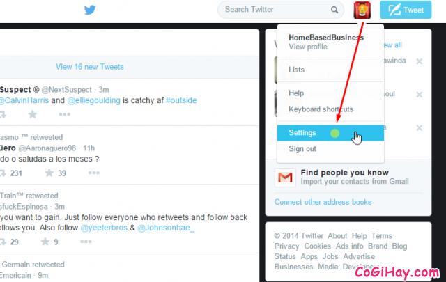 mở trang cài đặt tài khoản twitter