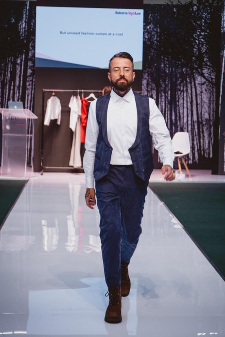 SEO Alt Text: Model Dan Pontarlier Styled By Roberta Lee, Pure London Runway Feb 2020 | Conscious Fashion Brands | Waistcoat, White Shirt