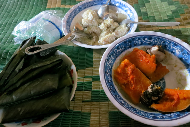 Sticky rice steamed in banana leaves, coconut sticky rice, sweet potatoes