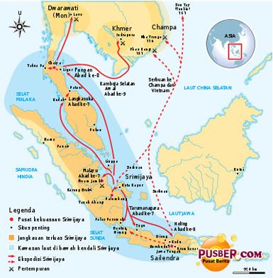Sejarah Kerajaan Sriwijaya di Indonesia, Peta Wilayah Kekuasaan Kerajaan Sriwijaya
