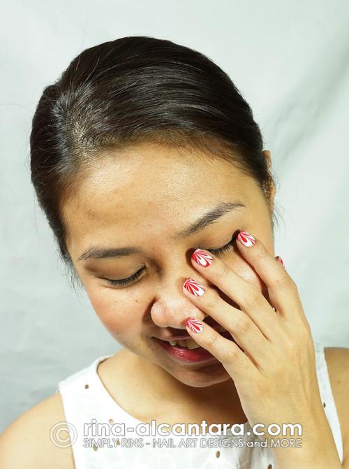 Red Splatter Nail Art Design