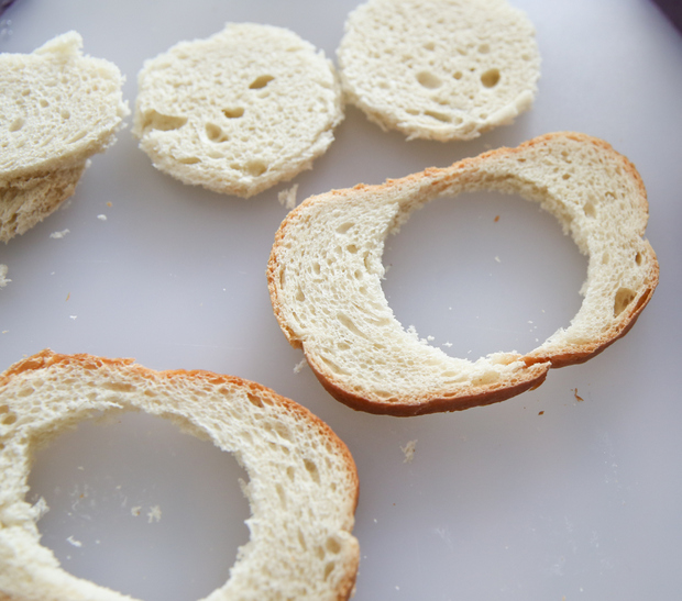 photo of bread slices with holes cut out