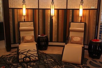 Chairs in the waiting room at the Chuan Spa at the Langham Hotel in London