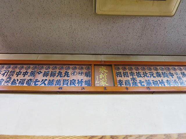 壁にはられた横浜中央卸売市場関係の札