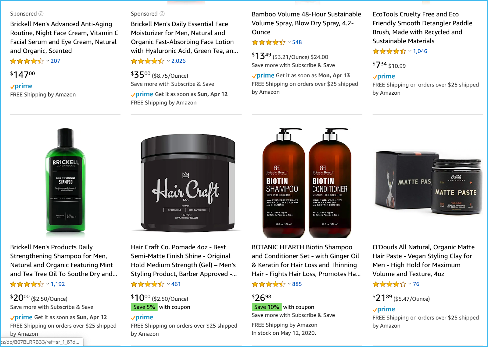 amazon search hair products