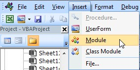 Insert module in VB