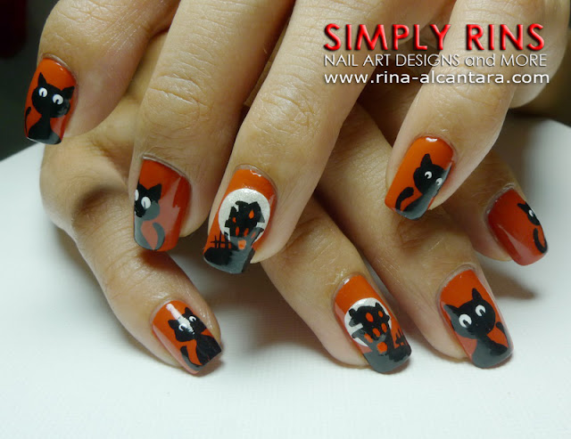 Haunted House and Black Cats Nail Art Design