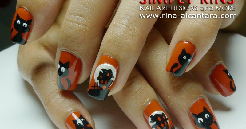 Nail Art Tutorial Haunted House And Black Cats Simply Rins