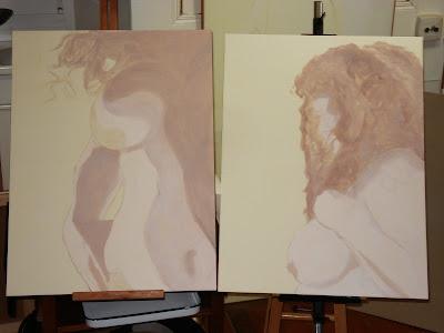 Les deux tableaux ébauchés en demi-teintes claires