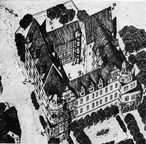 """Lageplan von Schloß Varenholz 3. = Wohnturm, b = südw. Langhaus, c = Torhaus, d = Windeltreppe, e = Backhaus, f = Querhaus, g = nordöstl. Langhaus, h = Zwinger. Mit Genehmigung des Verlages Aschendorff, Münster, entnommen aus Sonnen, """"Die Weserrenaissance"""" 3. Auflage."""