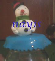 frasco de vidrio masa flexible muñeco hombre de nieve
