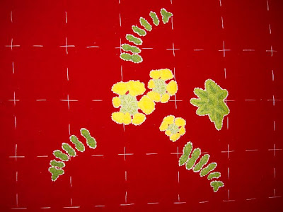 Ruth O'Leary Textile Art: embroidered cowslip and all three ferns on St Cuthbert's Banner