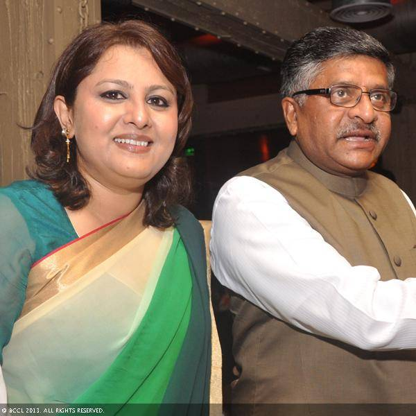 Vani Tripathi with Ravi Shankar Prasad during her birthday bash, held in Delhi.