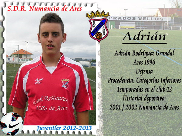 Numancia de Ares ADR. Xuvenil Adrián Rodríguez.