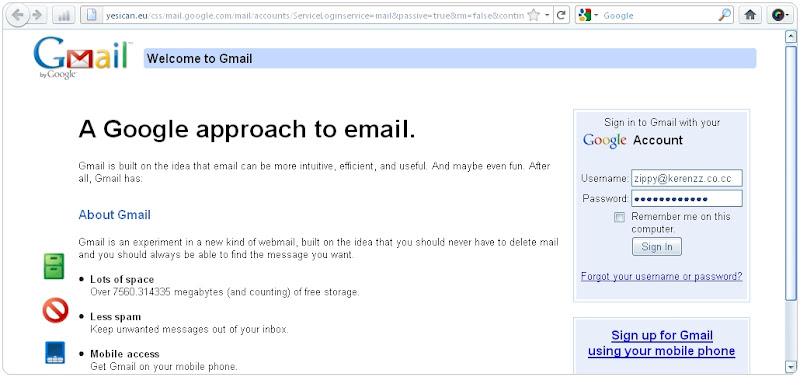 Form Login in Gmail