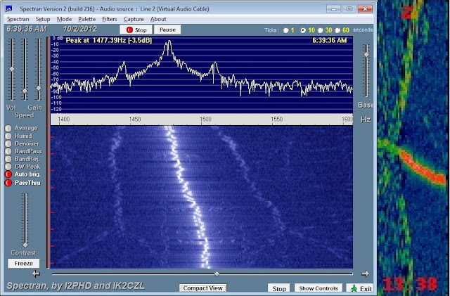 02 Oct 2012 1338 UTC - Spectran analysis of                       the final 80 seconds of N6YG 2 meter WSPR signal                       showing the discrete tones and about 25 Hz                       negative frequency drift over the period. Moving                       symmetric side images 35 dB down from main signal                       are observed. The corresponding WSPR waterfall                       segment is on the right.