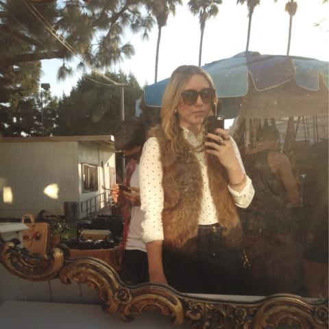 fur vest, sunglasses, fairfax flea market, vintage mirror, vintage
