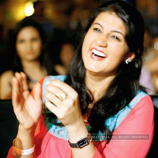 Prachi Tandon during a stand-up comedy show at Manhattan. <br />