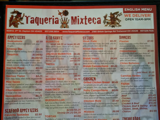 Menu, Taqueria Mixteca, Dayton, Ohio