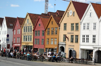 Buildings in Bryggen in Bergen Norway