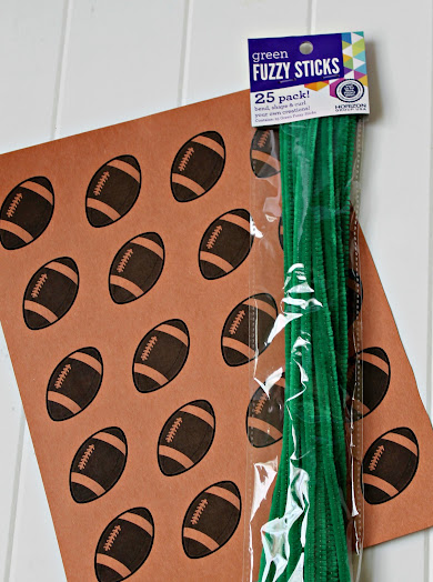 Supplies needed: green chenille stems & my football template