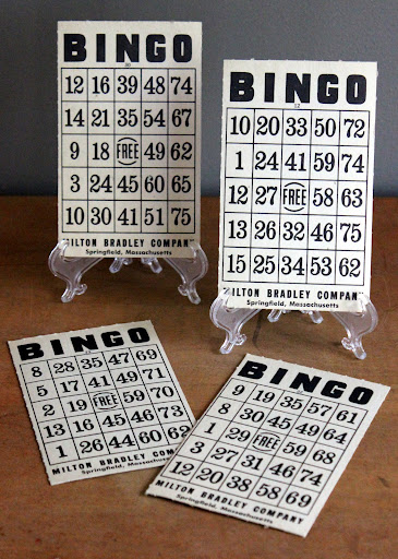 Vintage bingo cards from the rental inventory of www.momentarilyyours.com, $0.50 each.