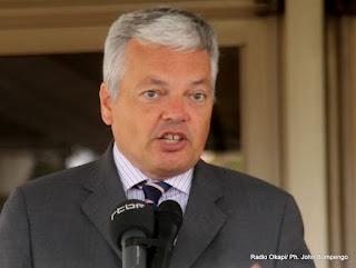 Didier Reyders, ministre Belge des affaires étrangères le 20/08/2012 à Kinshasa, lors d'un point de presse. Radio Okapi/ Ph. John Bompengo