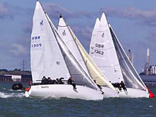 J/80 one-design sailboats- sailing Warsash spring series