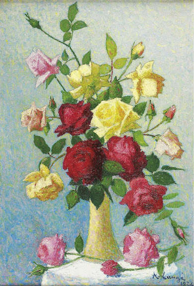 Achille Laugé - Vase of Roses, 1924