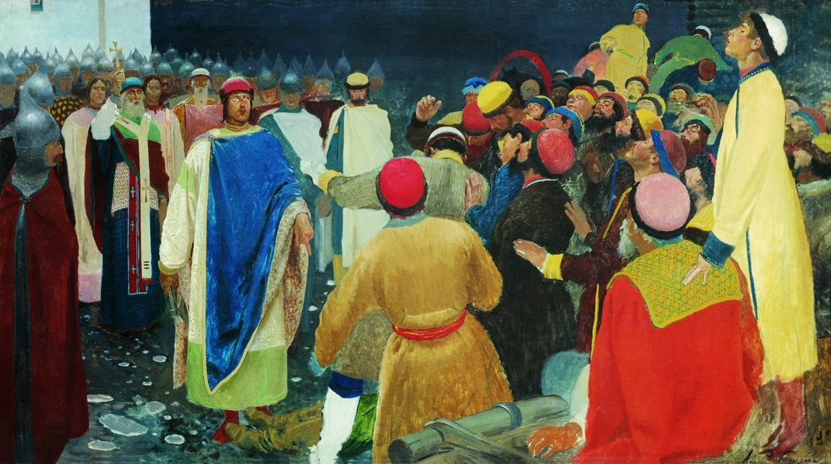 Andrei Ryabushkin - Prince Gleb Svyatoslavovych kills Magus at the Novgorod Veche (Princely Court)